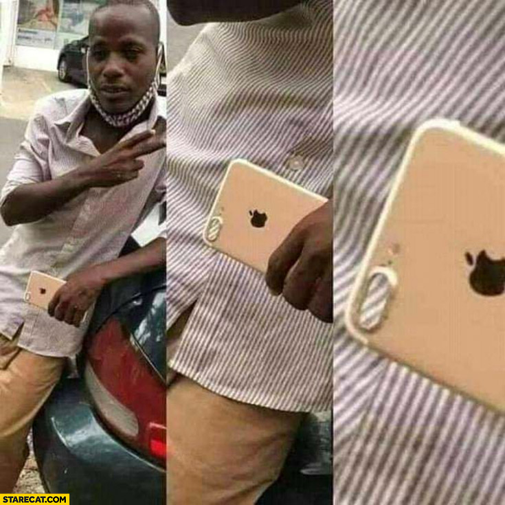 Black man posing with iPhone empty phone case