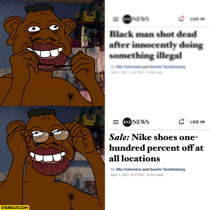 Black man shot dead, after putting glasses: on sale Nike shoes one hundred percent off at all locations