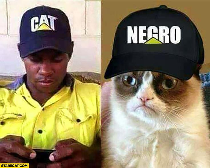 Black man wearing cat hat cat wearing negro cap