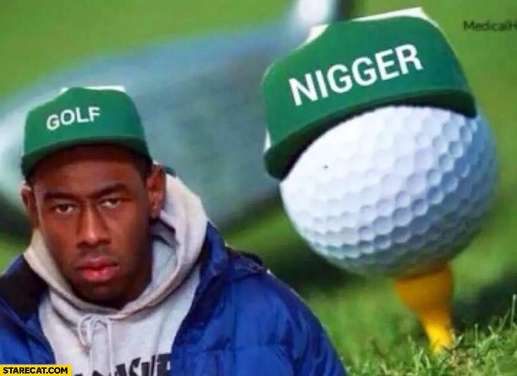 Black man wearing golf cap, golf ball wearing ngr cap