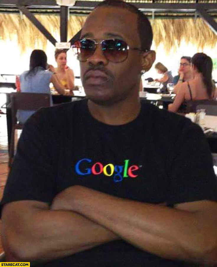 Black man wearing Google shirt secret word meaning