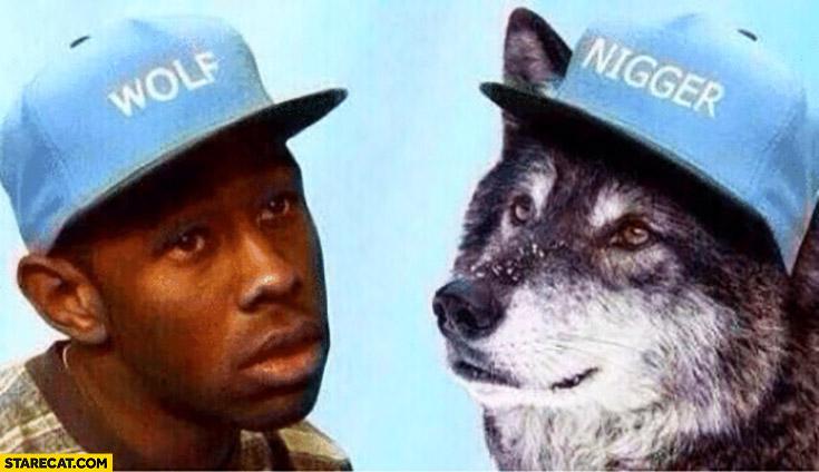 Black man wearing wolf cap, wolf wearing ngr hat