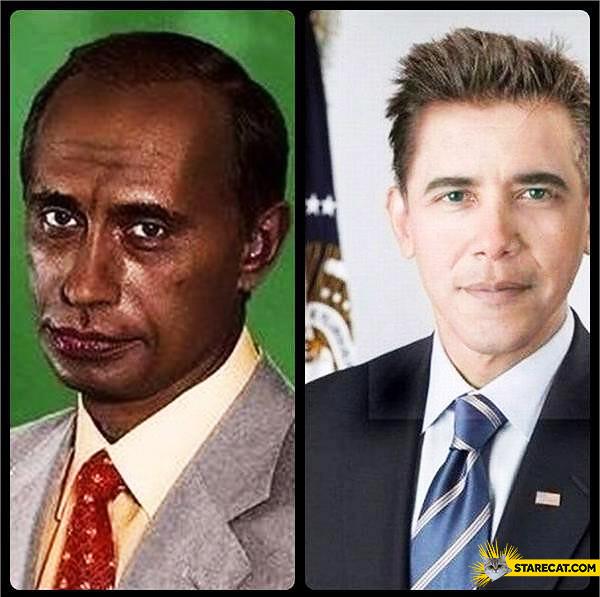 Black putin white Obama skin color switch