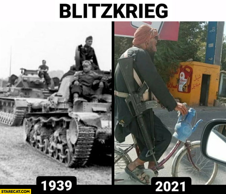 Blitzkrieg 1939 vs 2021 Germany Afghanistan comparison warrior on a bicycle