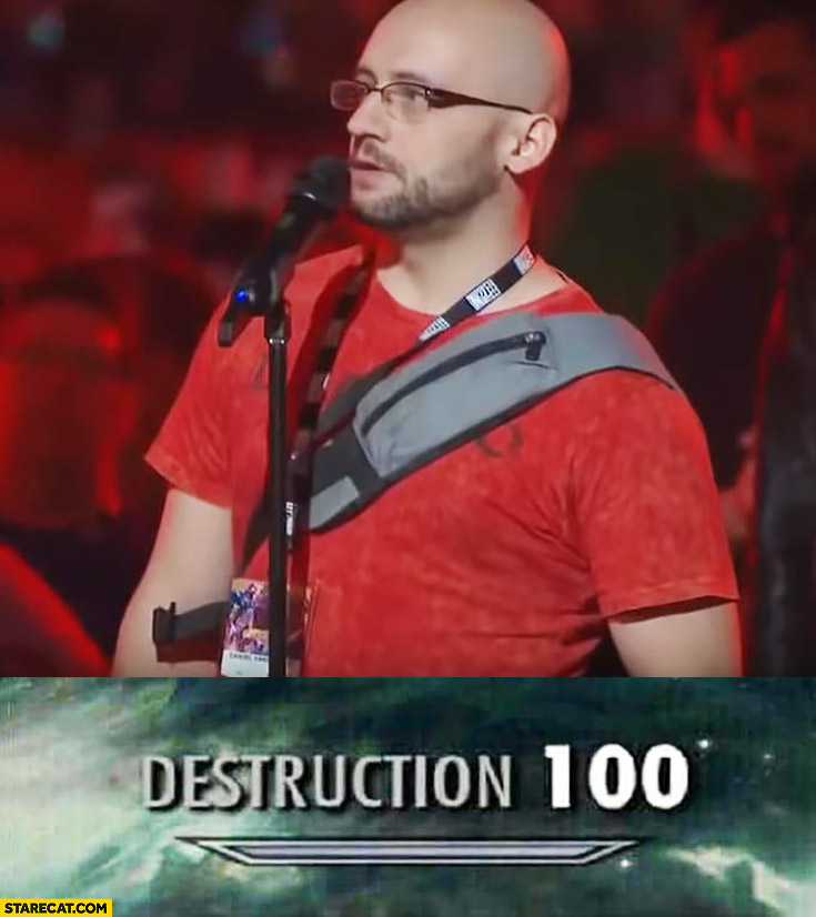 Blizzcon Blizzard conference guy in red shirt destruction 100