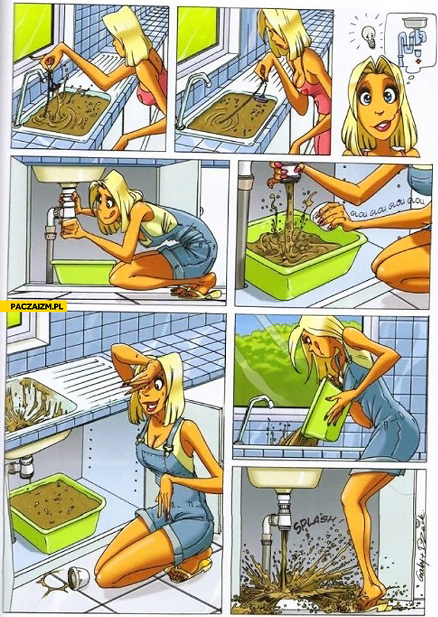 Blonde fixing sink comic