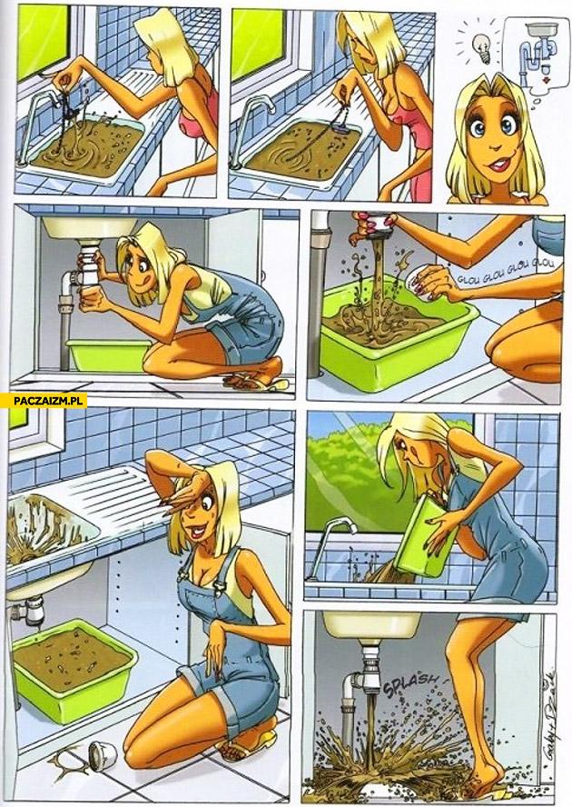 Blonde fixing sink comic
