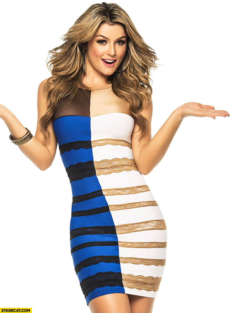 Blue black and white gold dress is back combo combined into one dress
