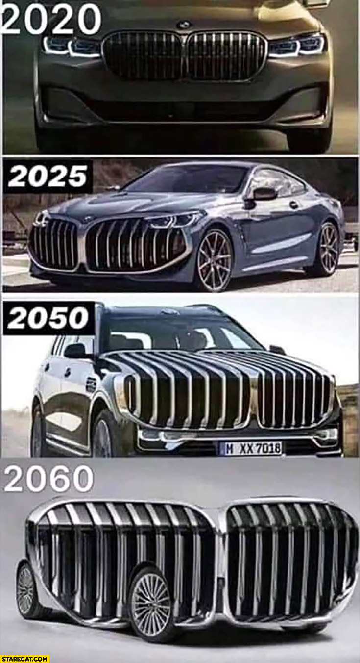 BMW grille evolution getting bigger and bigger 2020 2025 2050 2060