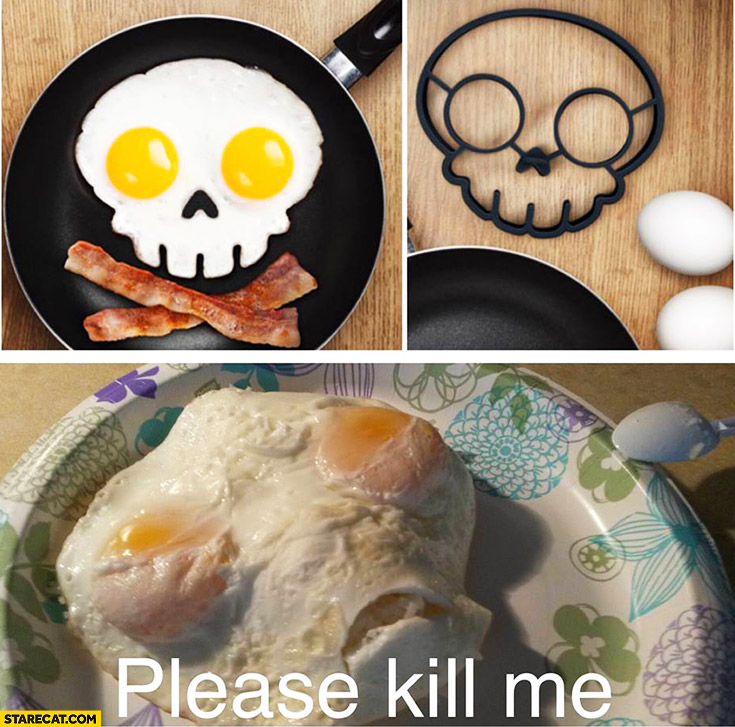 Boiled eggs skull looking like an alien