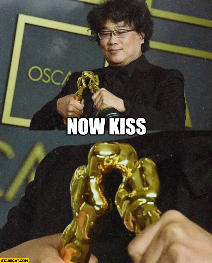 Bong Joon-Ho with two Oscars statues kissing now kiss