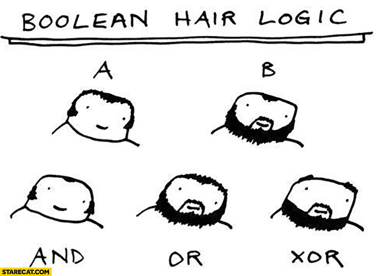 Boolean hair logic A B and or xor beard