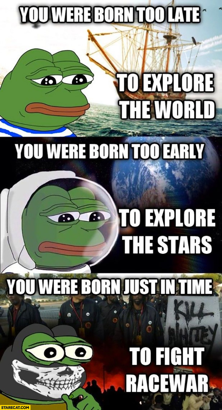 Born too late to explore the world, too early to explore the stars, just in time to fight racewar Pepe frog