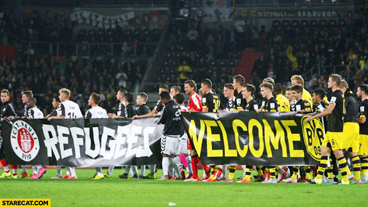 Borussia Dortmund refugees welcome banner BVB football team