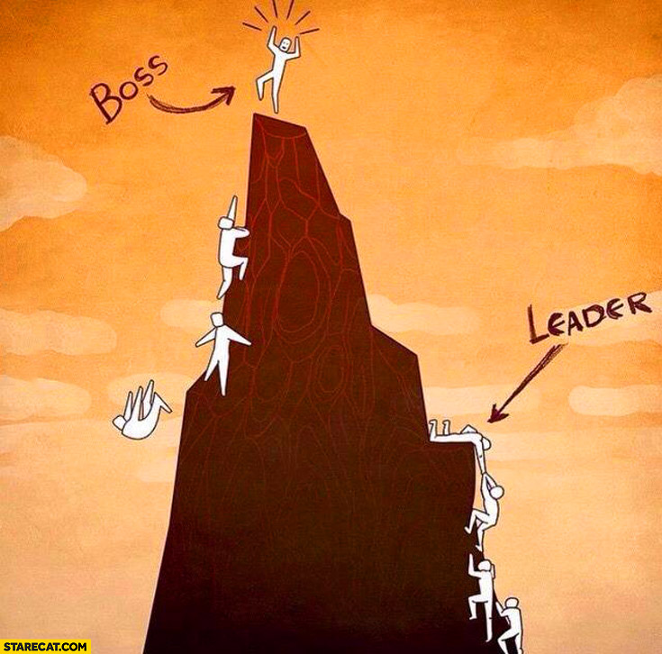 Boss leader difference climbing a mountain