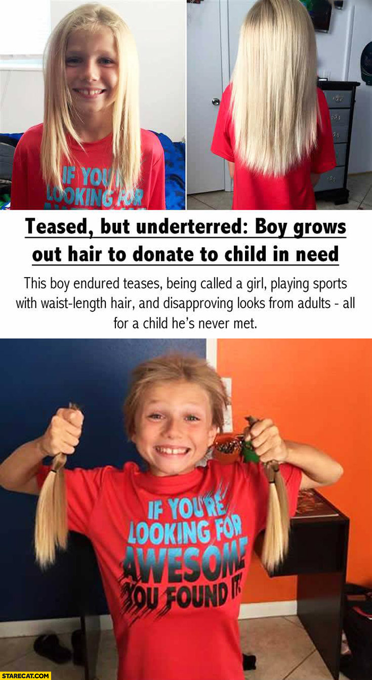 Boy grows out hair to donate to child in need