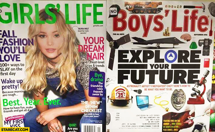 Boys magazine: explore your future vs girls magazine: hair, nails, fashion comparison