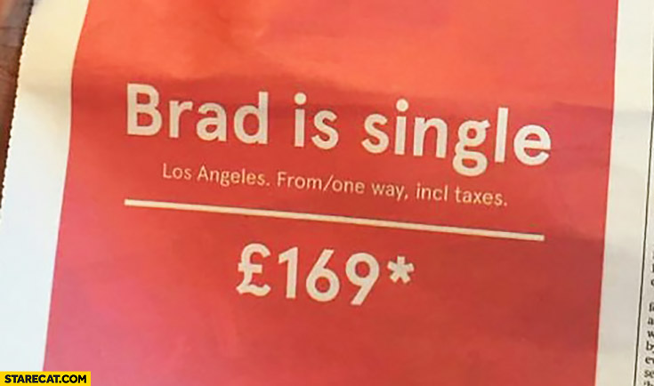 Brad is single Norwegian Airlines creative press AD