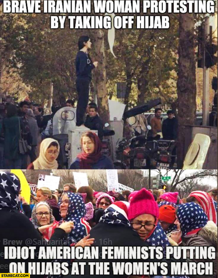 Brave Iranian woman protesting by taking off hijab vs idiot American feminists putting on hijabs at the womens march