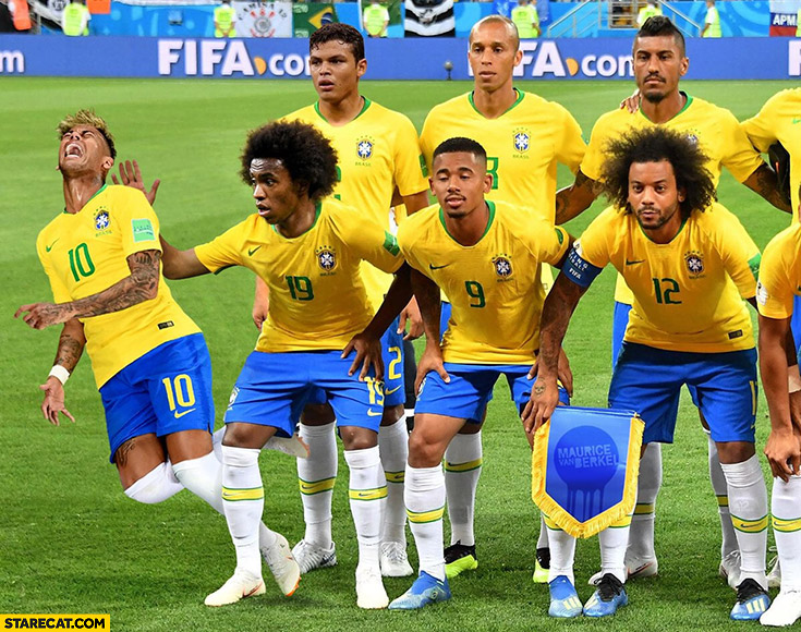 Brazil football team photo before a match Neymar already pretending to be injured