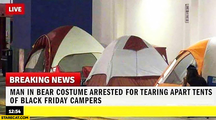 Breaking news: man in bear costume arrested for tearing apart tents of black friday campers