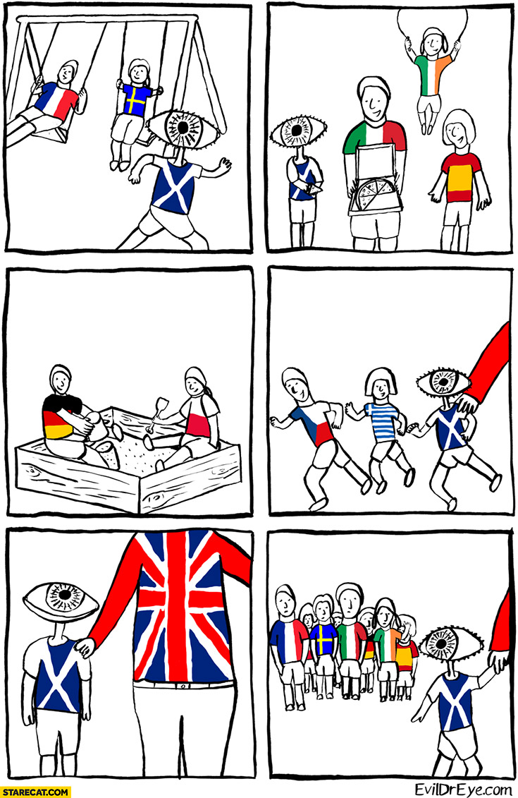 Brexit comic playing kids the UK takes Scotland home