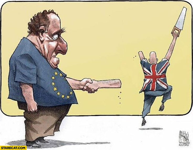 Brexit drawing United Kingdom UK Britain chopped of his own hand