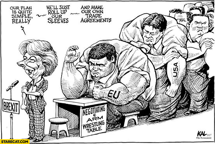 Brexit Theresa May our plan is quite simple really well just roll up our sleeves and makeour trade agreements arm wrestling table