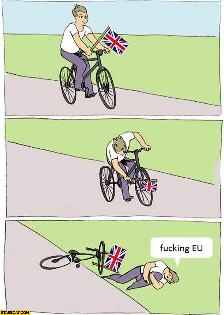 Britain on a bicycle collapses, fucking European Union Brexit fail comic