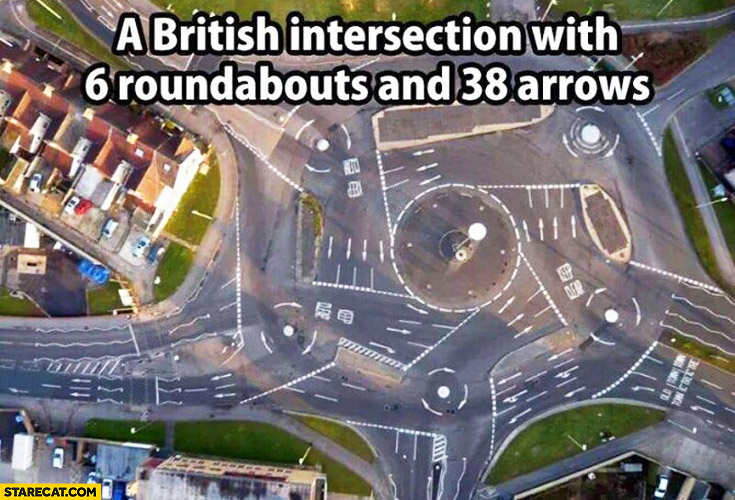 British intersection with 6 roundabouts and 38 arrows