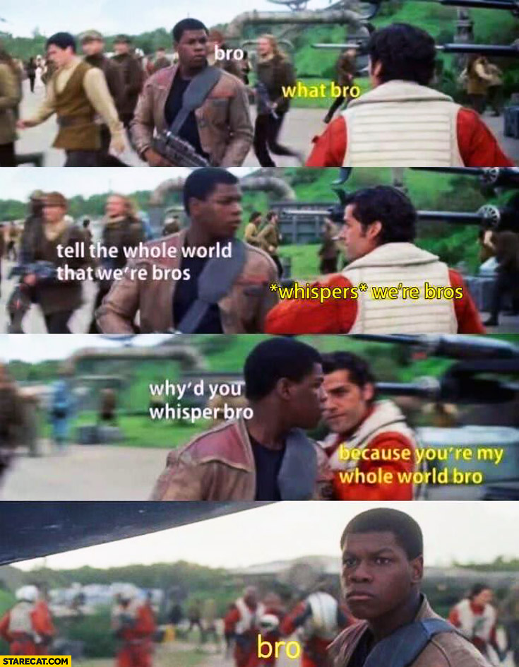 Bro, what bro?, tell whole world that we're bros, *whispers* we're bros, why'd you whisper bro?, because you're my whole world bro. Finn Poe Star Wars