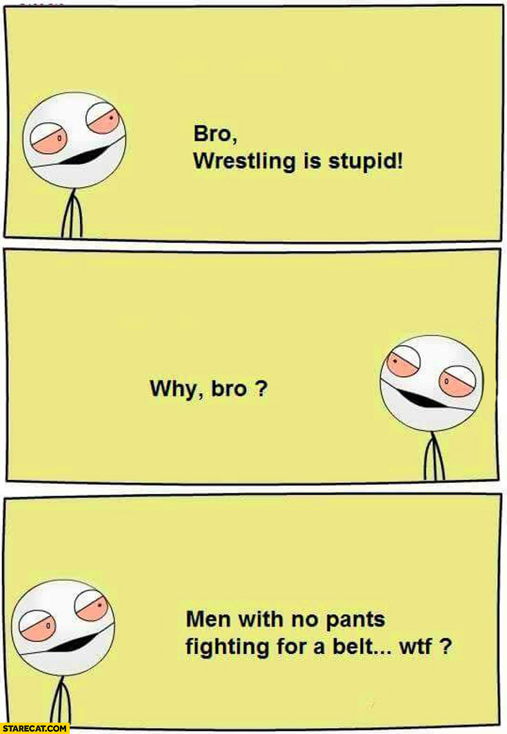 Bro wrestilng is stupid. Why? Men with no pants fighting for a belt, wtf?