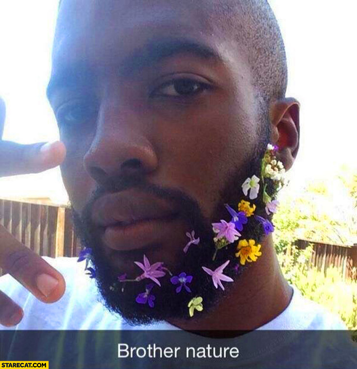 Brother nature – man with flowers in his beard
