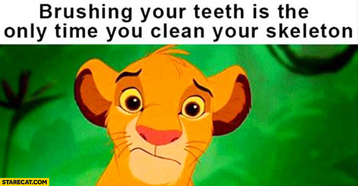 Brushing your teeth is the only time you clean your skeleton Simba Lion King