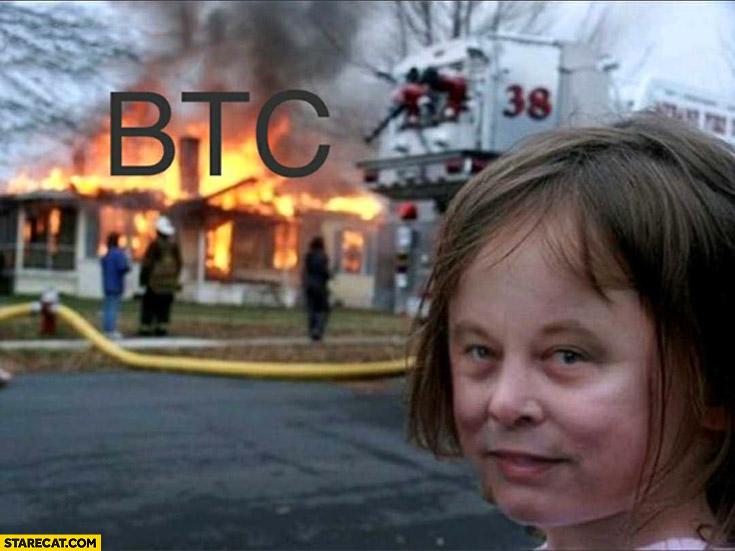 BTC house on fire Elon Musk watching girl face photoshopped face app
