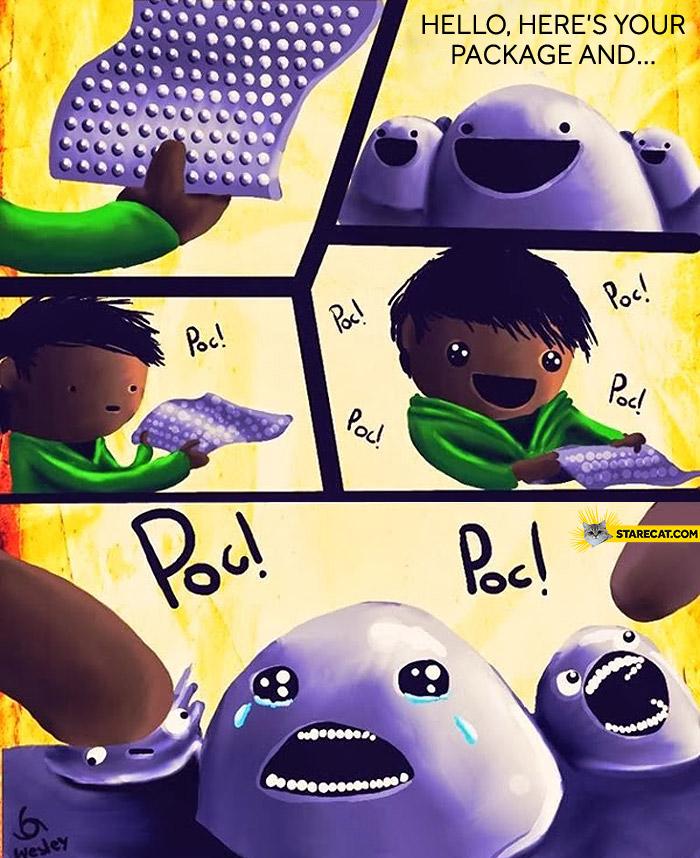 Bubble wrap comics