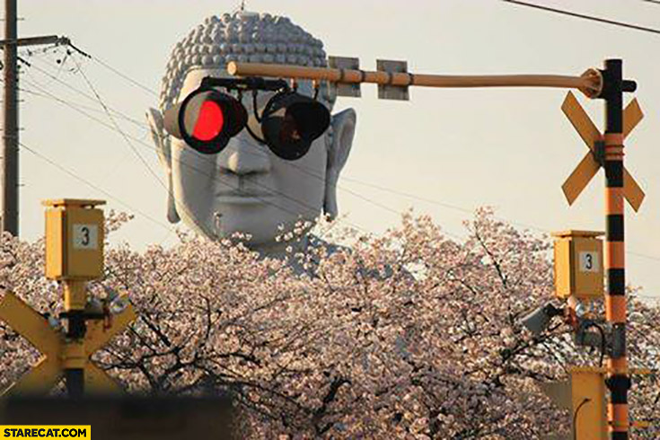 Buddha eyes traffic lights creative photo