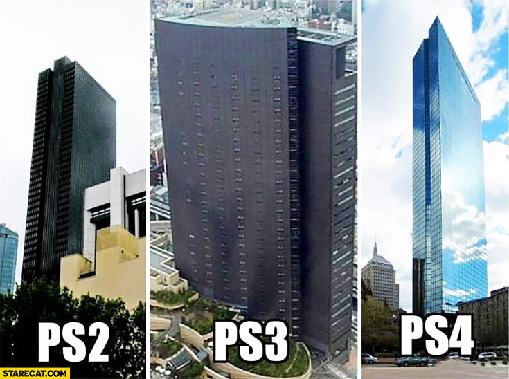 Building looking like PS Playstation consoles generations PS2 PS3 PS4