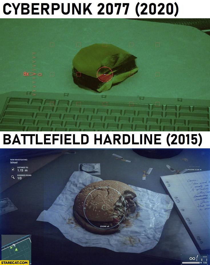 Burger in Cyberpunk 2077 vs Battlefield hardline comparison
