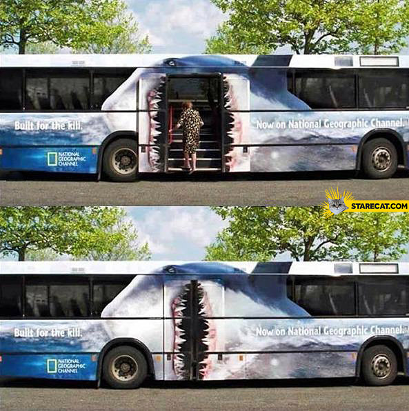 Bus doors as shark creative National Geographic AD