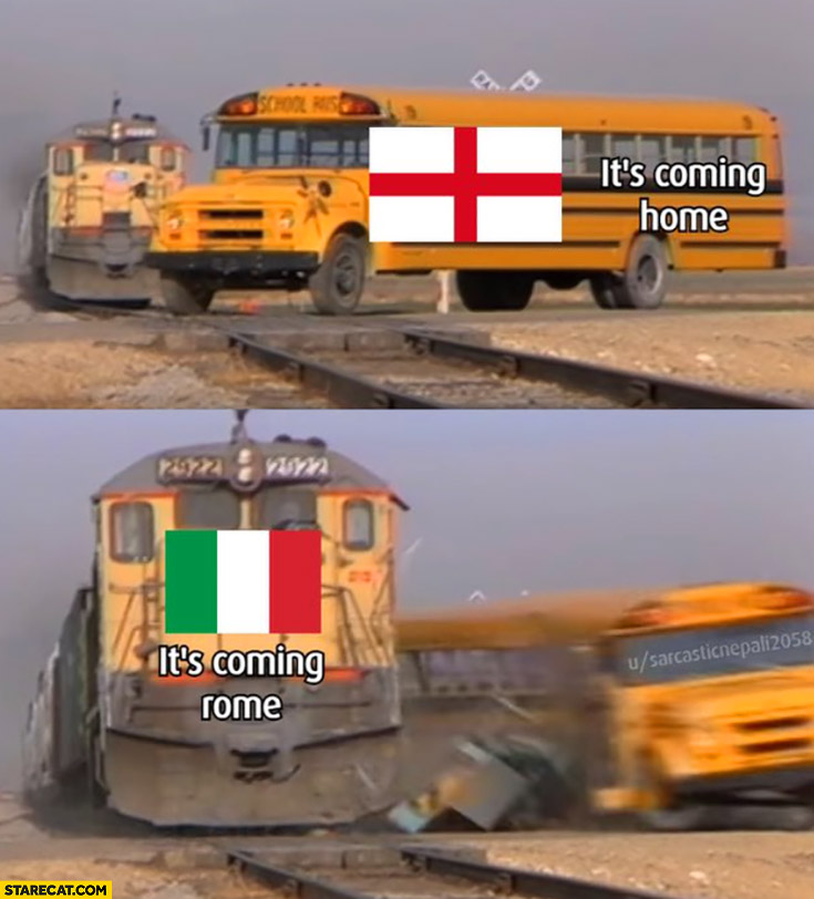 Bus england it's coming home vs train italy it's coming Rome crash accident Euro 2020