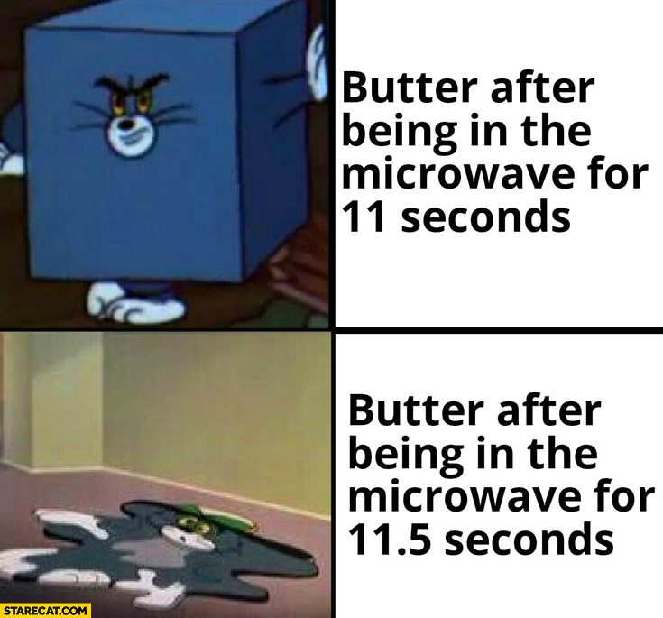 Butter after being in the microwave for 11 seconds vs after 11,5 seconds Tom and Jerry
