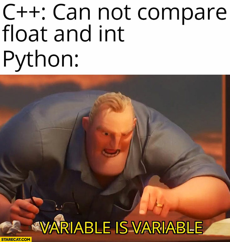 C plus plus can not compare float and int python variable is variable