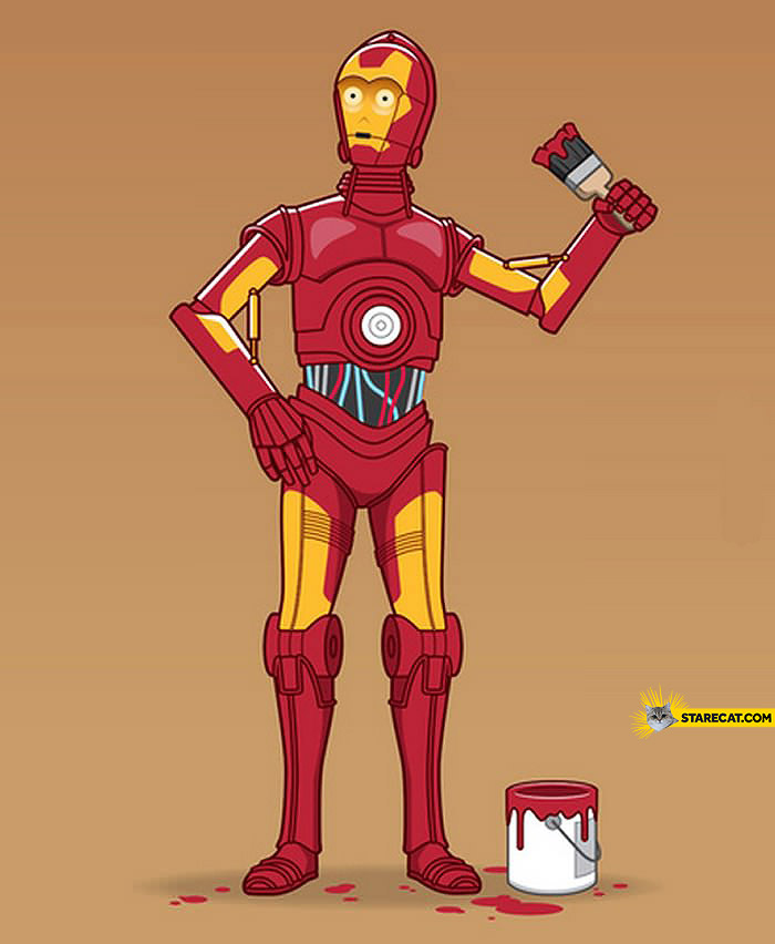 C3PO repainting as Iron Man