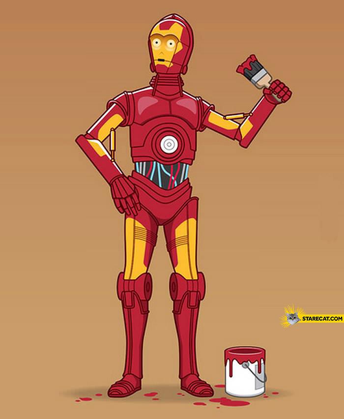 C3PO repainting as Iron Man