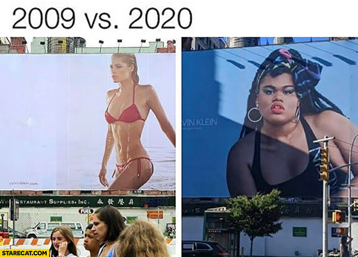 Calvin Klein billboard ad 2009 vs 2020 comparison sexy girl vs fat man queer Jari Jones