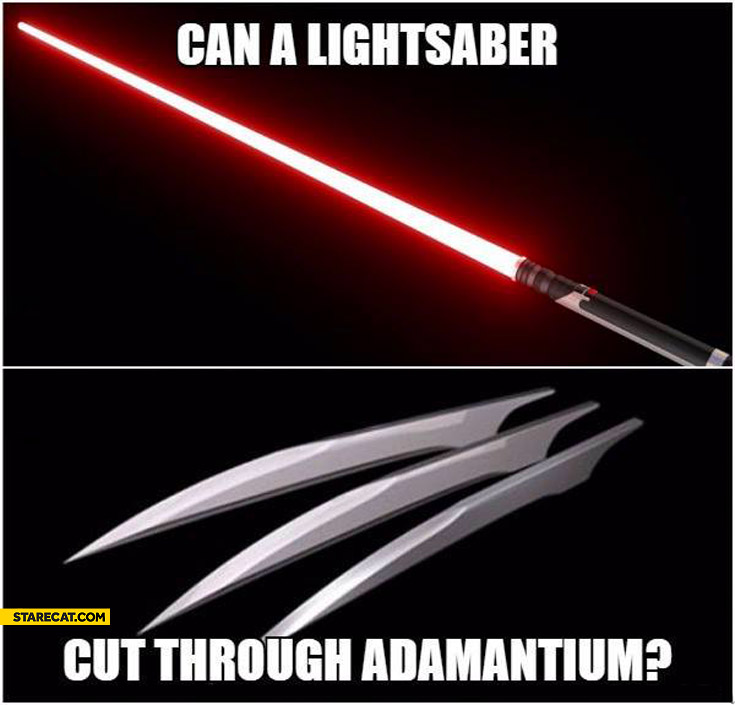 Can a lightsaber cut through adamantium?