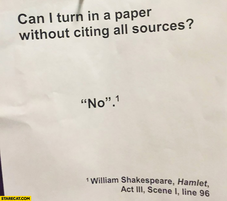 Can I turn in a paper without citing all sources? No. William Shakespeare, Hamlet, Act 3, Scene 1, Line 96