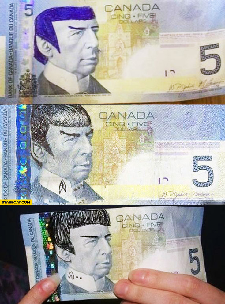 Canada money Spock 5 dollars Canadian