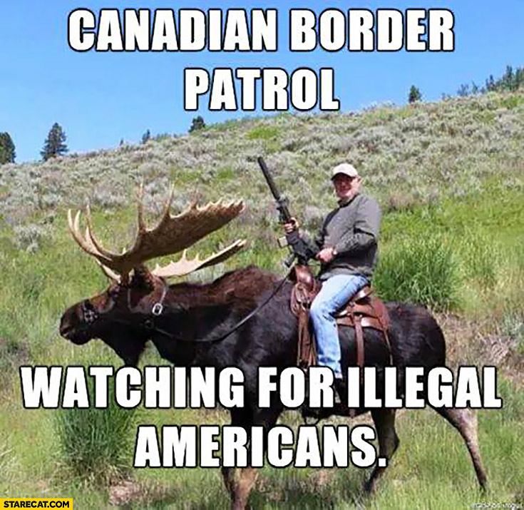 Canadian border patrol watching for illegal Americans. Man on a moose